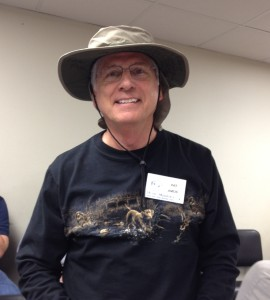 Pat Amos - showing off his new fishing hat signed by all of the Clergy!