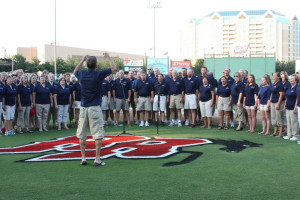 Singing the National Anthem at the Rough Riders Game - August 2010