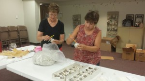 Sharon and Joy making Music Ornaments. 08/27/2014
