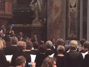 Tim Morrison conducting during high mass at St. Peter's Basilica.