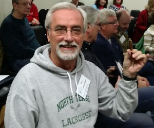Bill Dickerson won the beautiful pencil made by Linda's father!